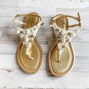 Kate Spade Flat Pearl Sandals Size 8